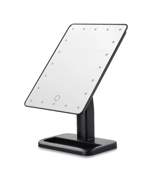 Black Makeup Mirror  Adjustable LED Lighted 180 Degree Rotation  Portable