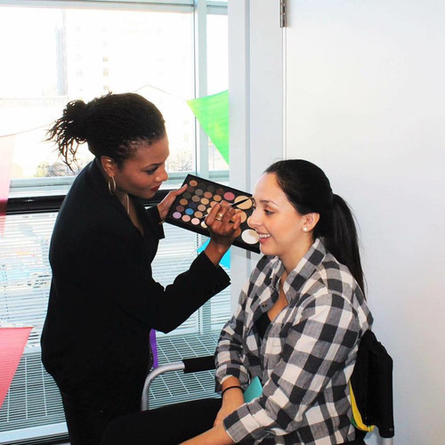 On location beauty makeup application