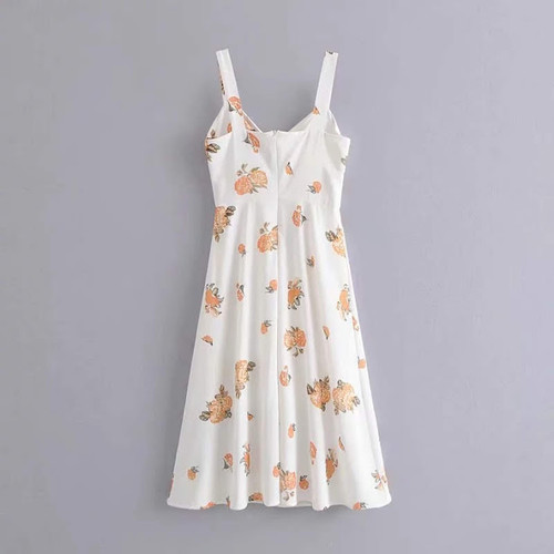 Negril Town Dress in Orange Floral  Anti-wrinkle, breathable, Eco-friendly fabric Model by Robyn Ryan
