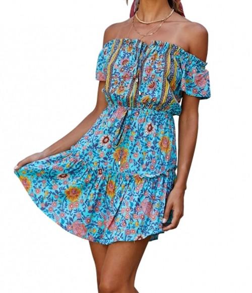 Spanish Town  Blue Print Dress