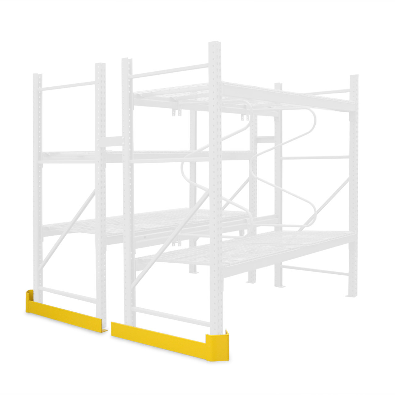 Aisle guards are installed at the base of the pallet rack for extra protection against collisions