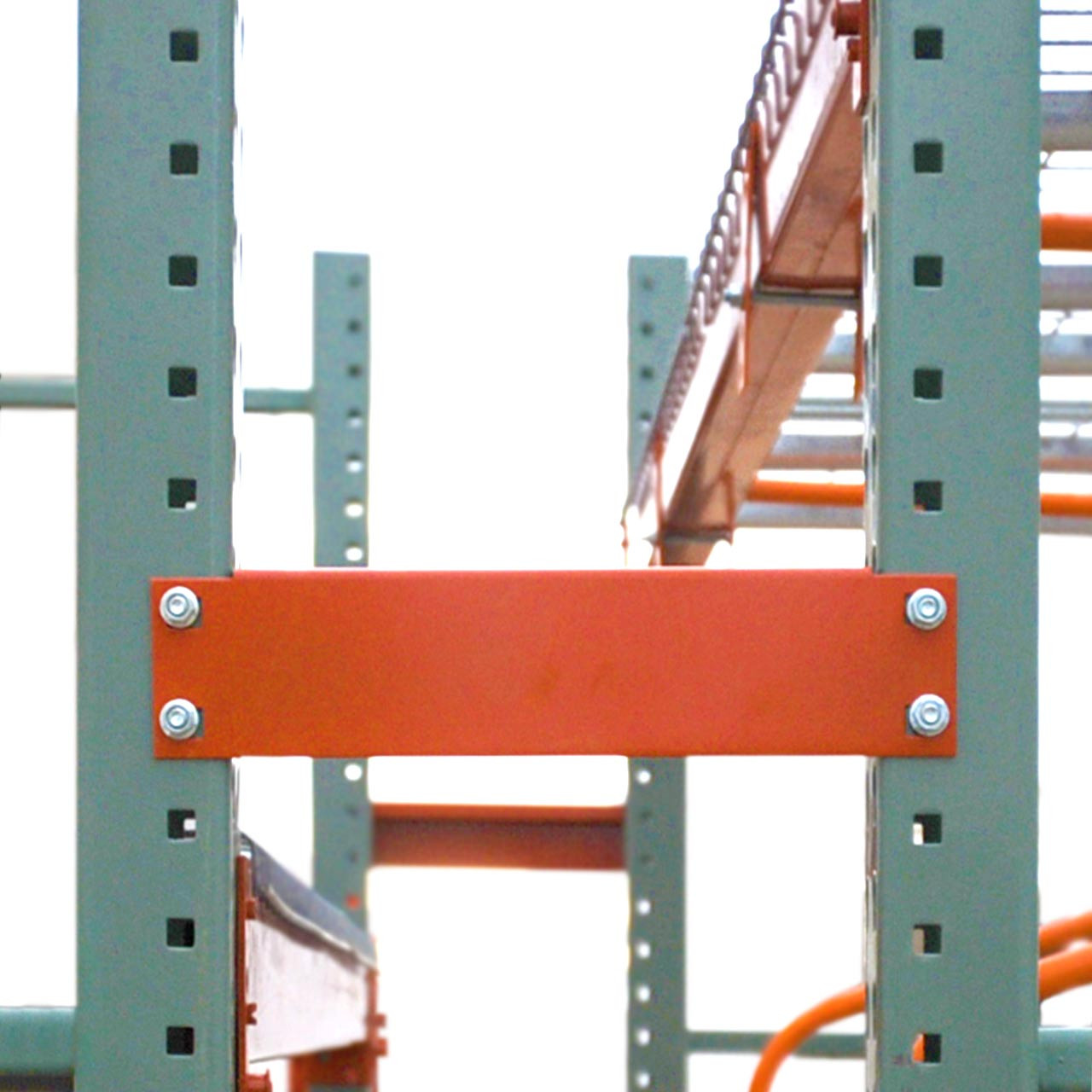 Row spacers add stability and consistent spacing between pallet racks