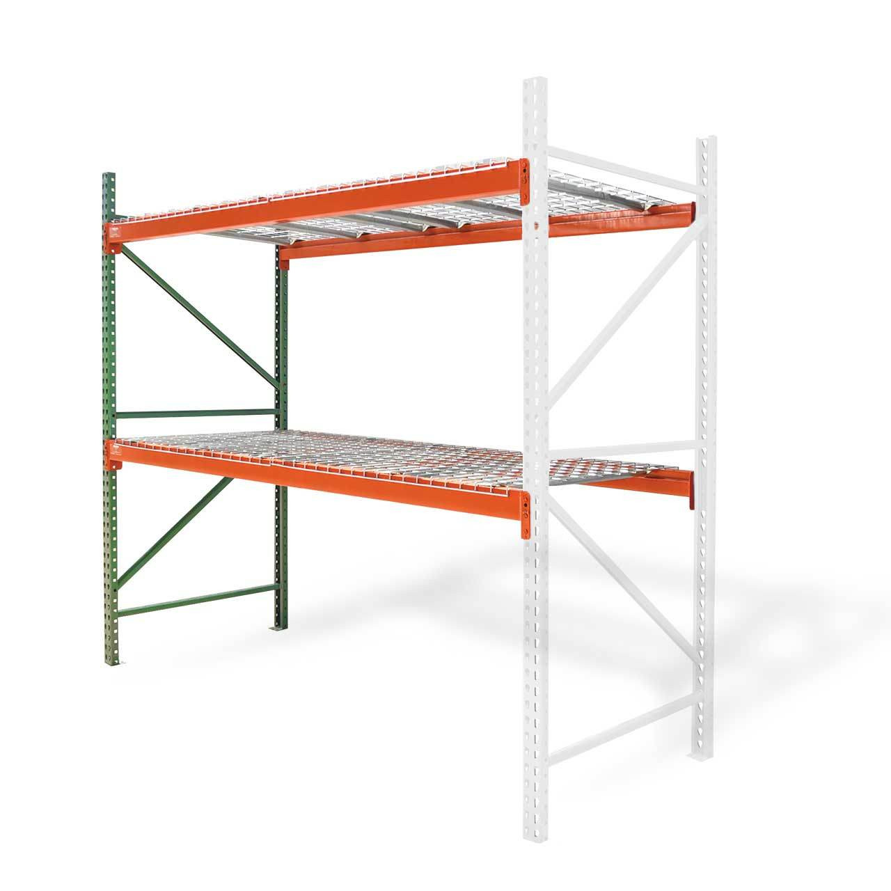 Pallet racking adder kit with wire decking