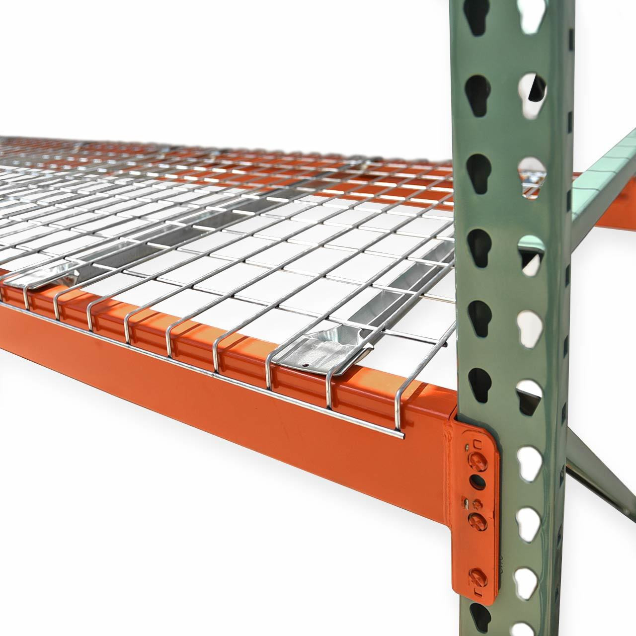 Pallet racking with wire decks close up