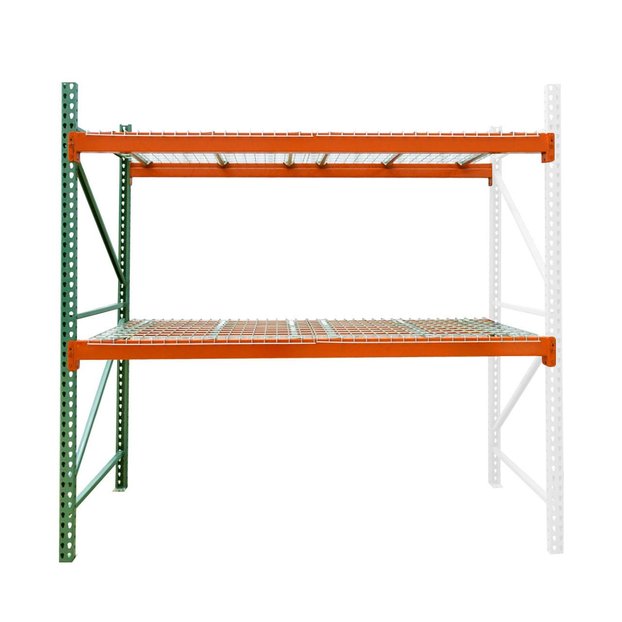 "36"" deep teardrop pallet rack adder kit with wire deck"