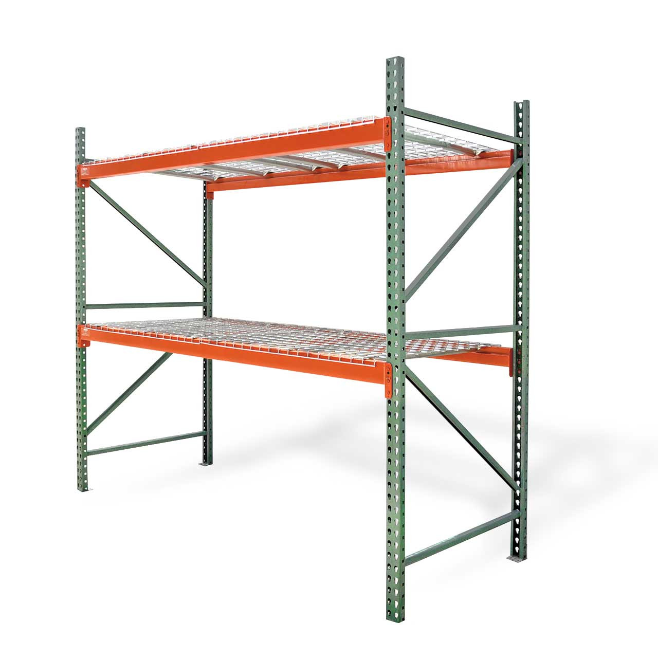 Pallet rack starter kit with wire decking