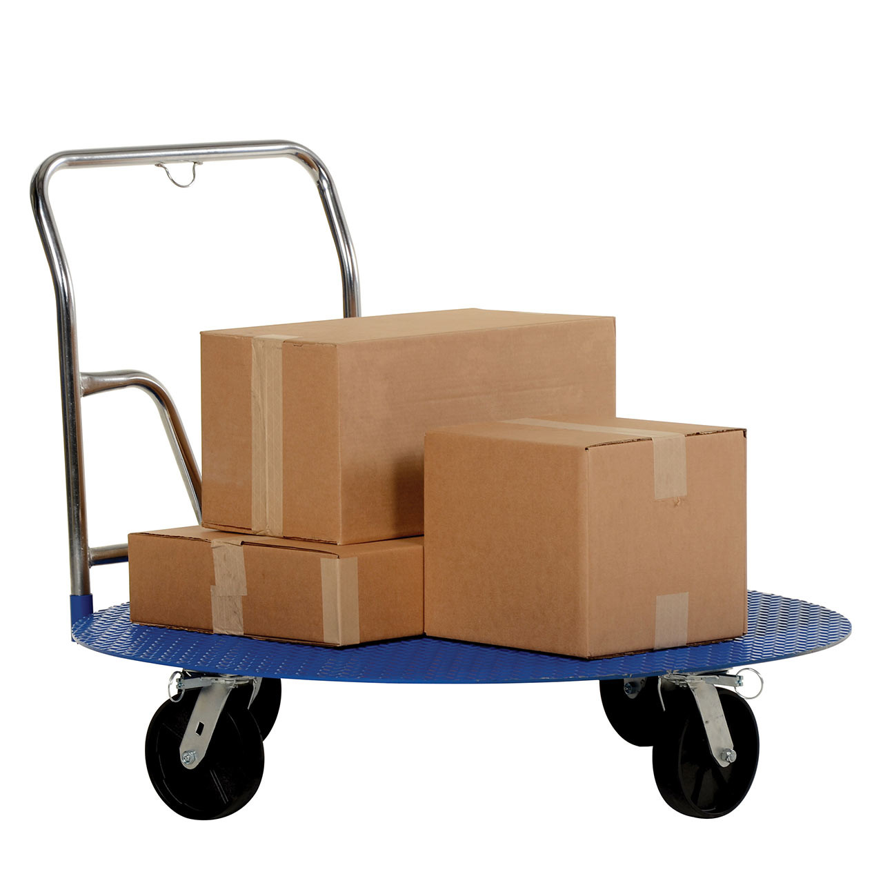 This cart holds and transports products smoothly and easily