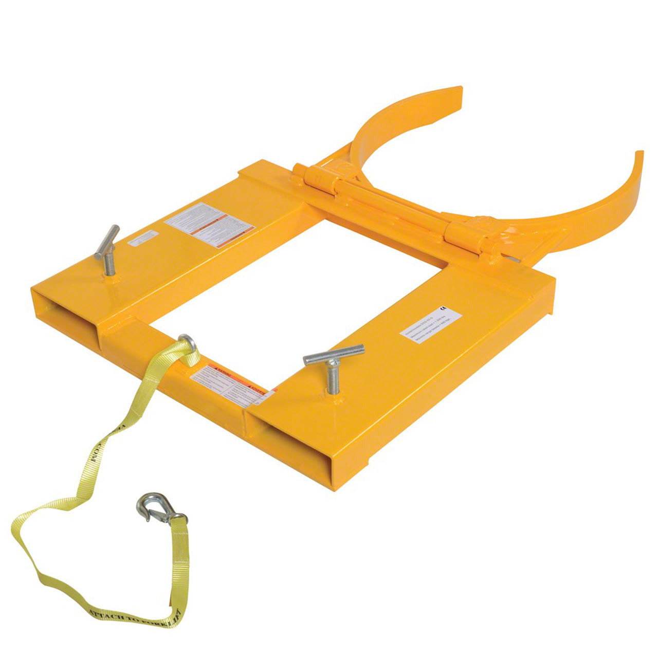 This single drum lifter includes a safety chain that attaches to the fork truck