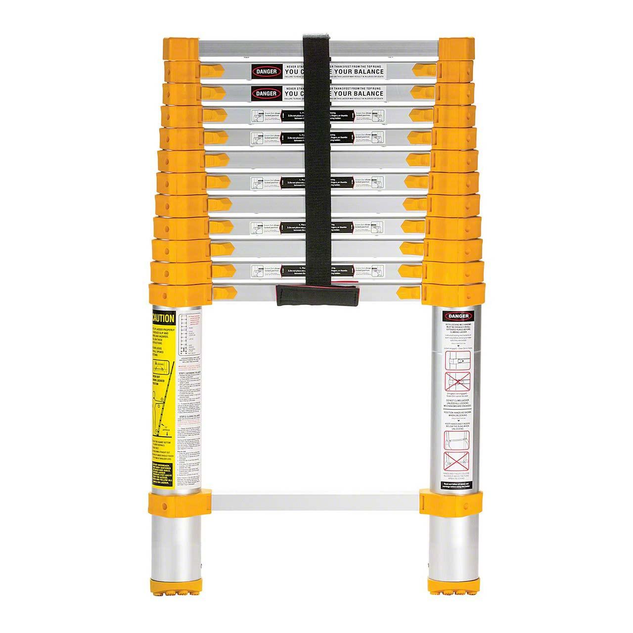 Aluminum telescopic ladder, closed view
