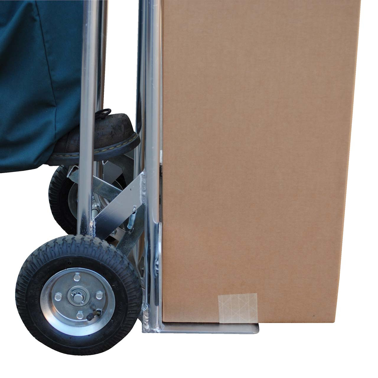 High back aluminum hand truck with load