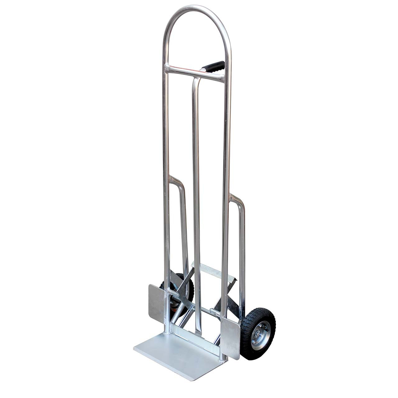 High backed aluminum hand truck with push out feature