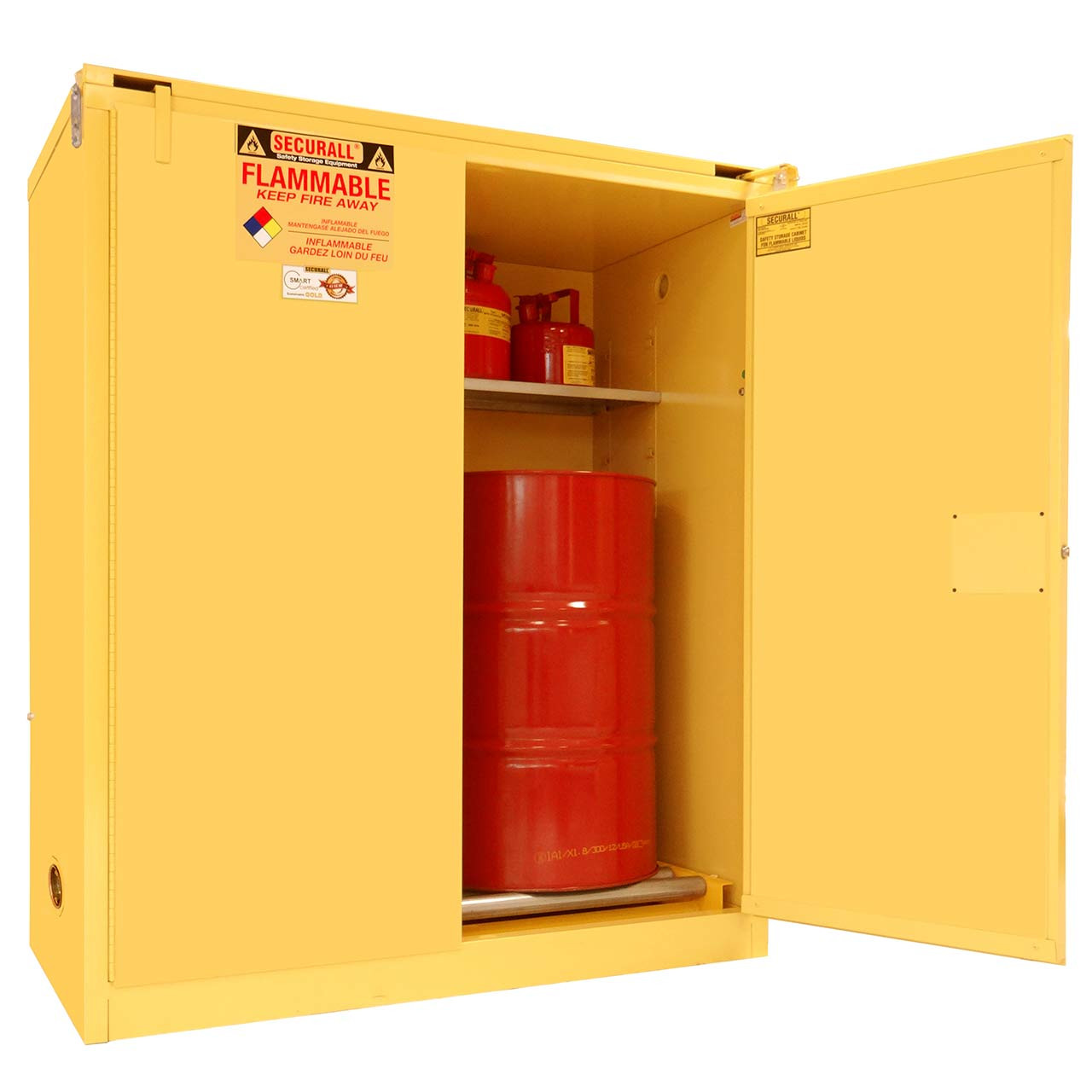 Flammable drum storage with safety door