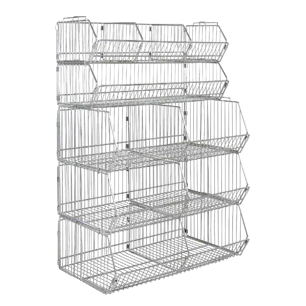 Stationary stacking wire shelving unit