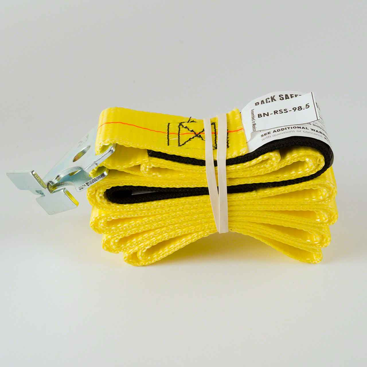 The pallet racking safety strap comes with the hardware to fit your pallet rack already attached