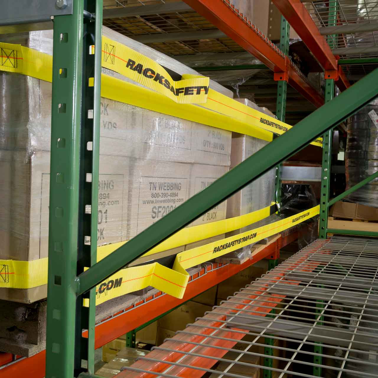 Pallet racking safety straps protect from accidental push-throughs or falls