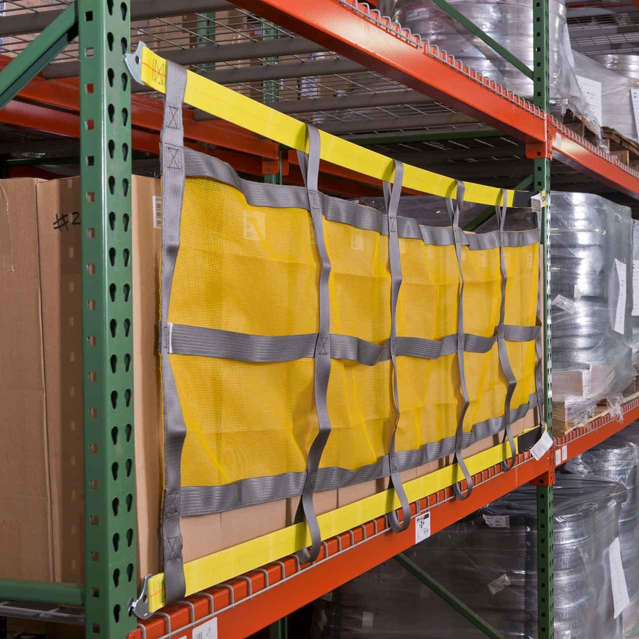 Pallet rack sliding safety net