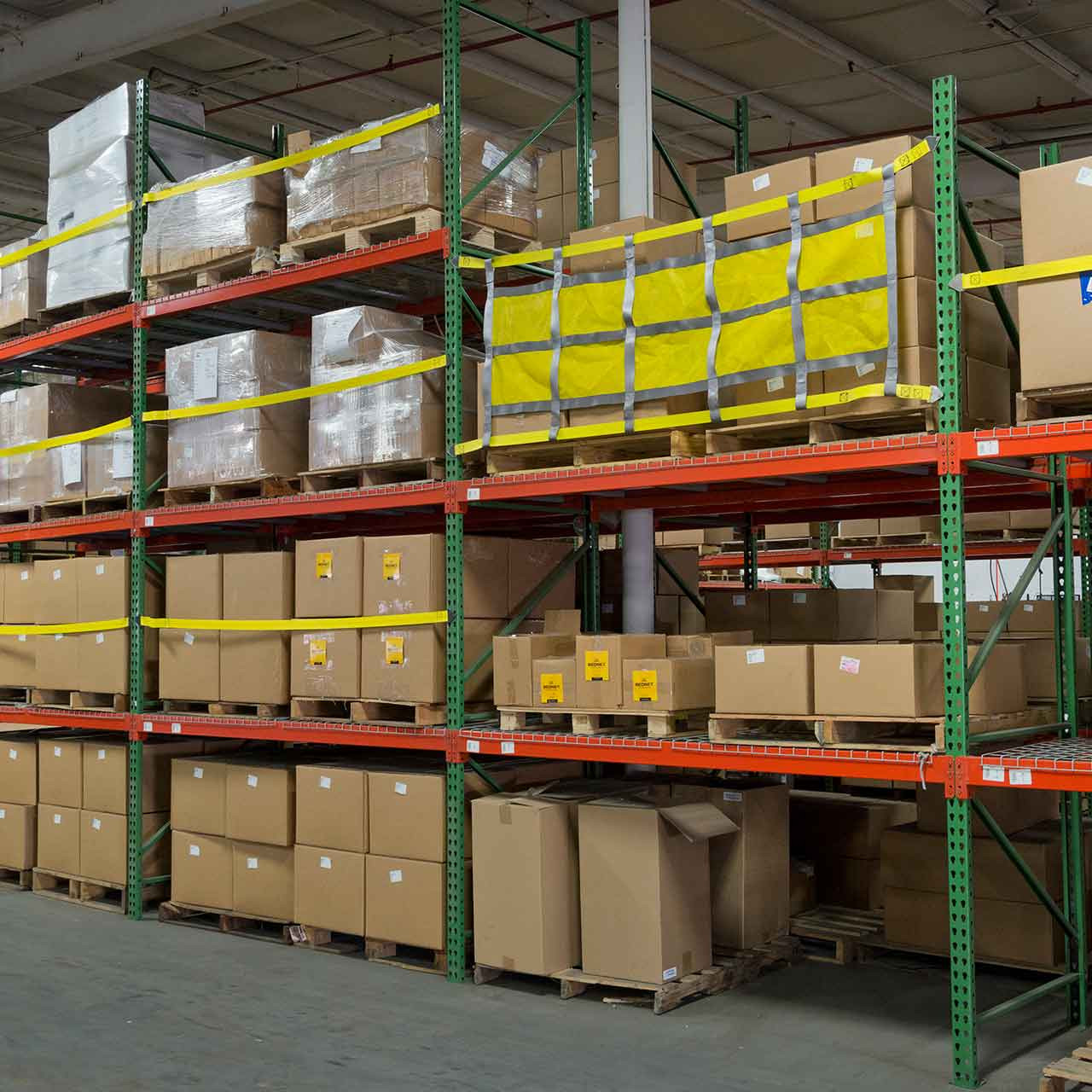 The pallet racking sliding safety nets install quickly and easily