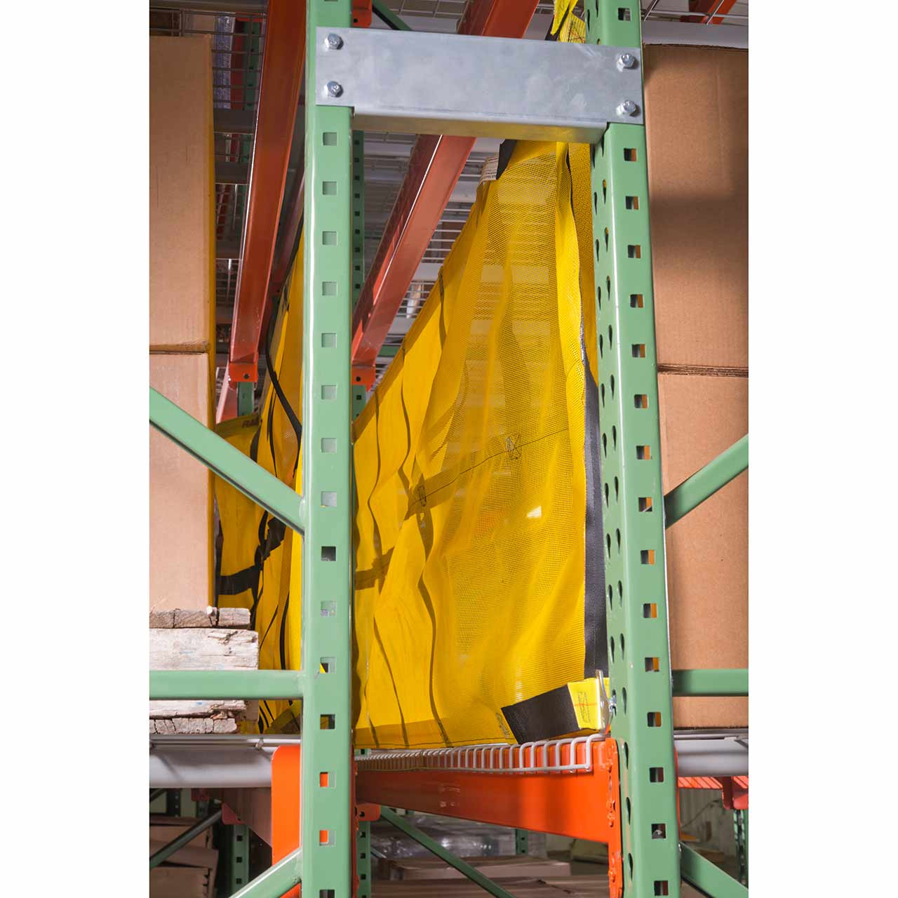 This fixed pallet racking safety net protects stored products from falling off the rack