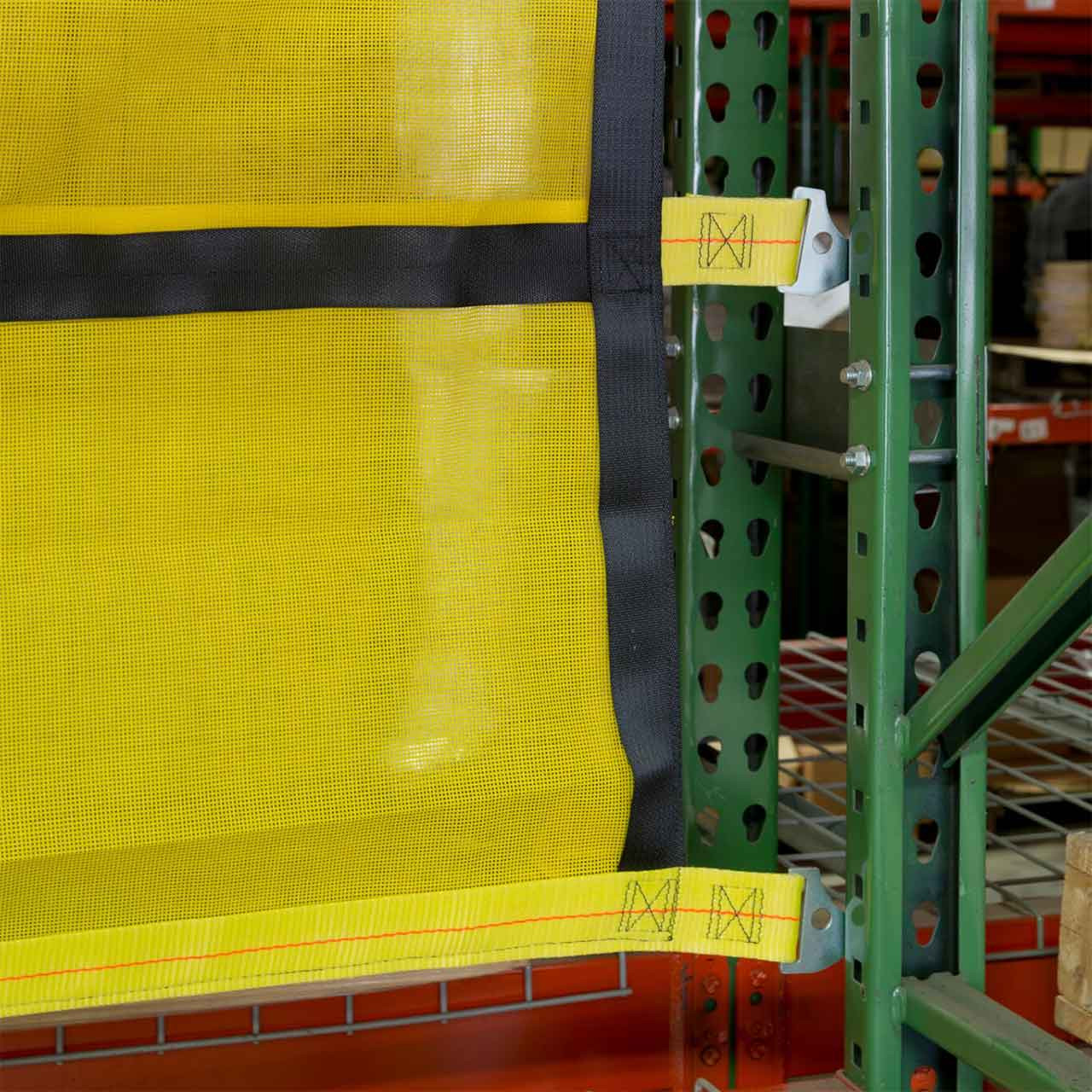 Made of strong, reinforced webbing to keep items on the pallet racks