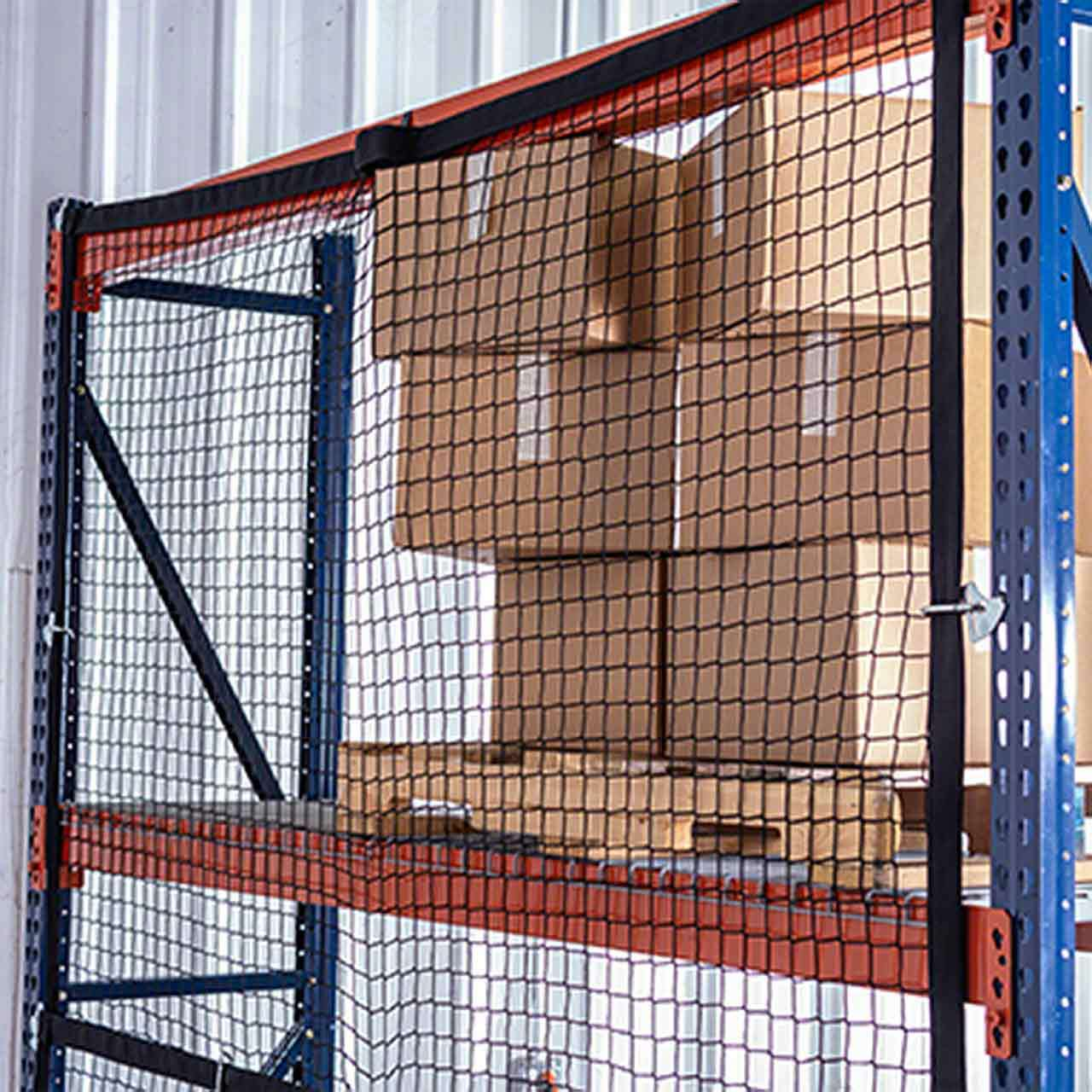 Modular pallet rack safety netting keeps loose items from falling