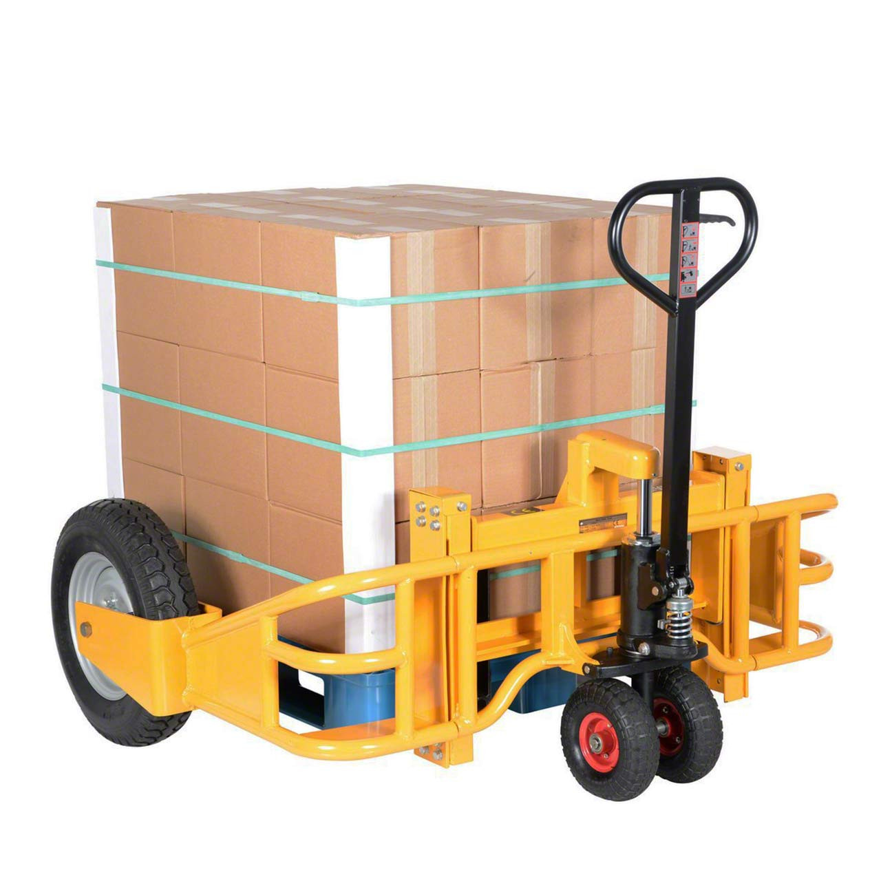Manual All Terrain Pallet Jack With Load Back View