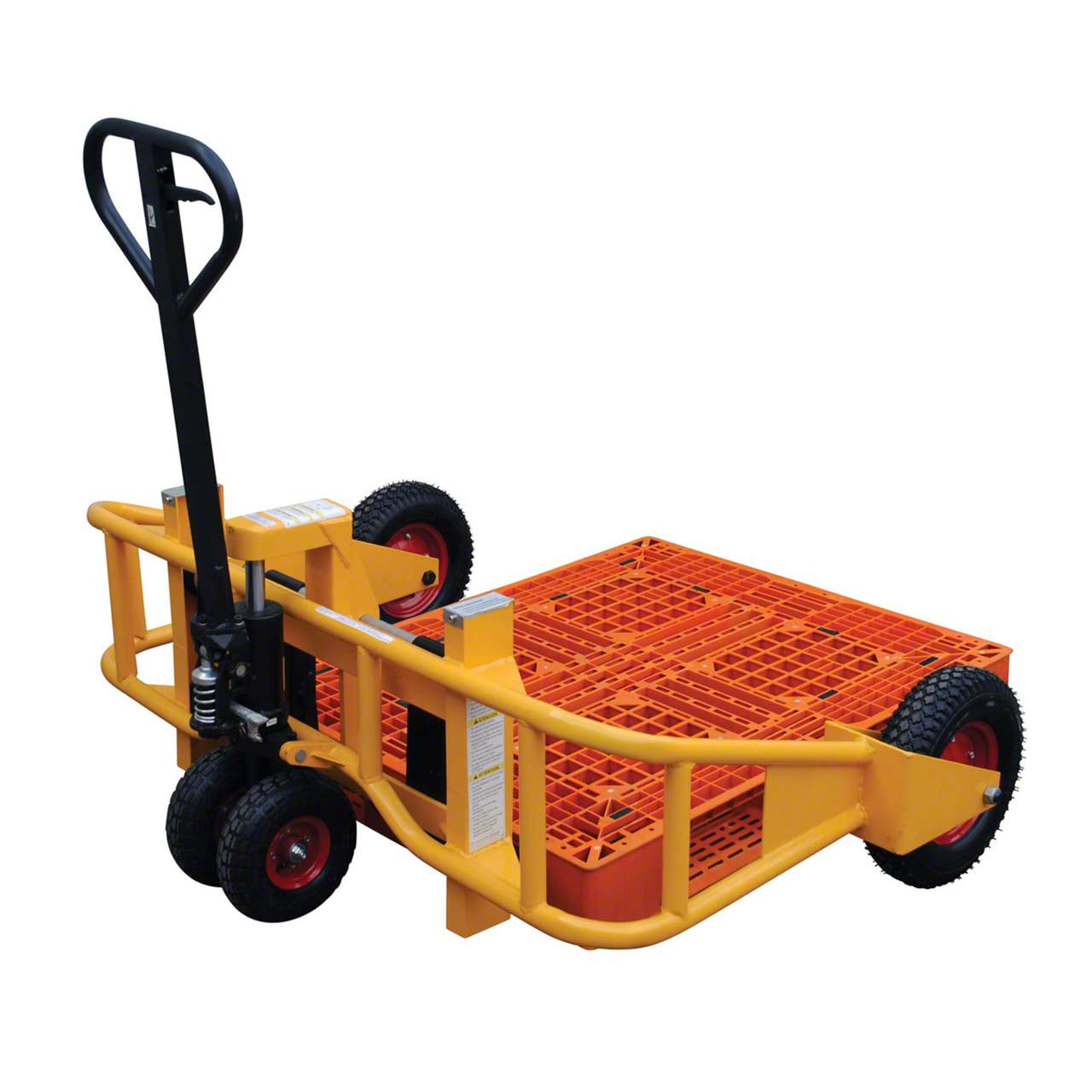 Manual All Terrain Pallet Jack With Pallet Back View