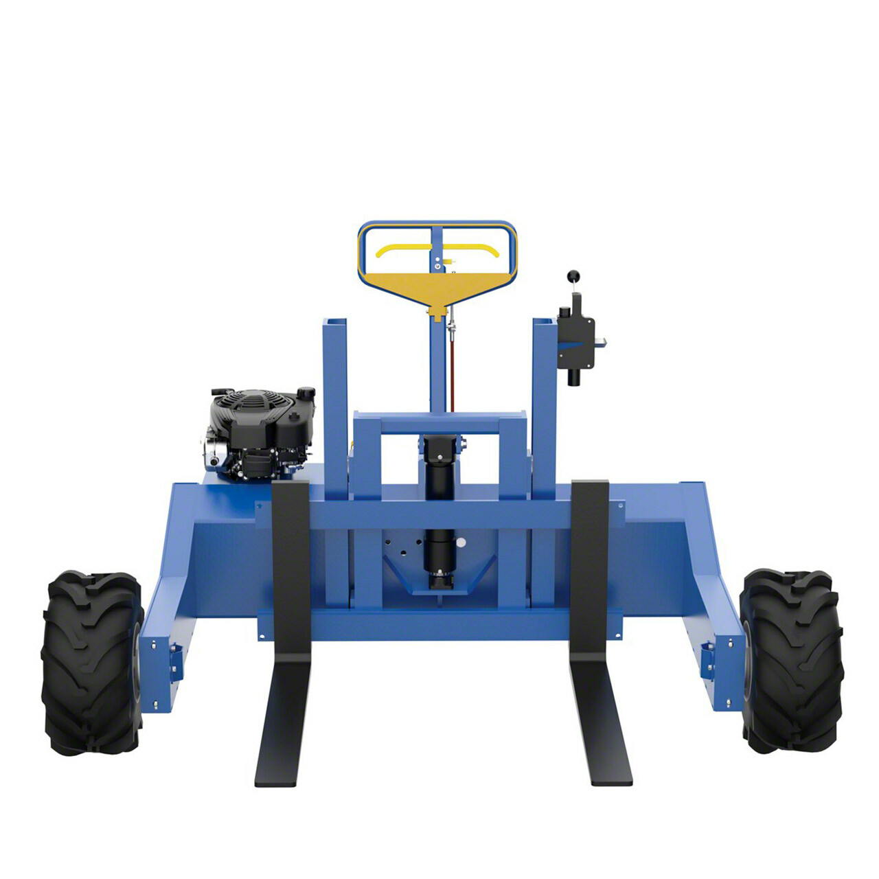 Front view of all terrain pallet jack
