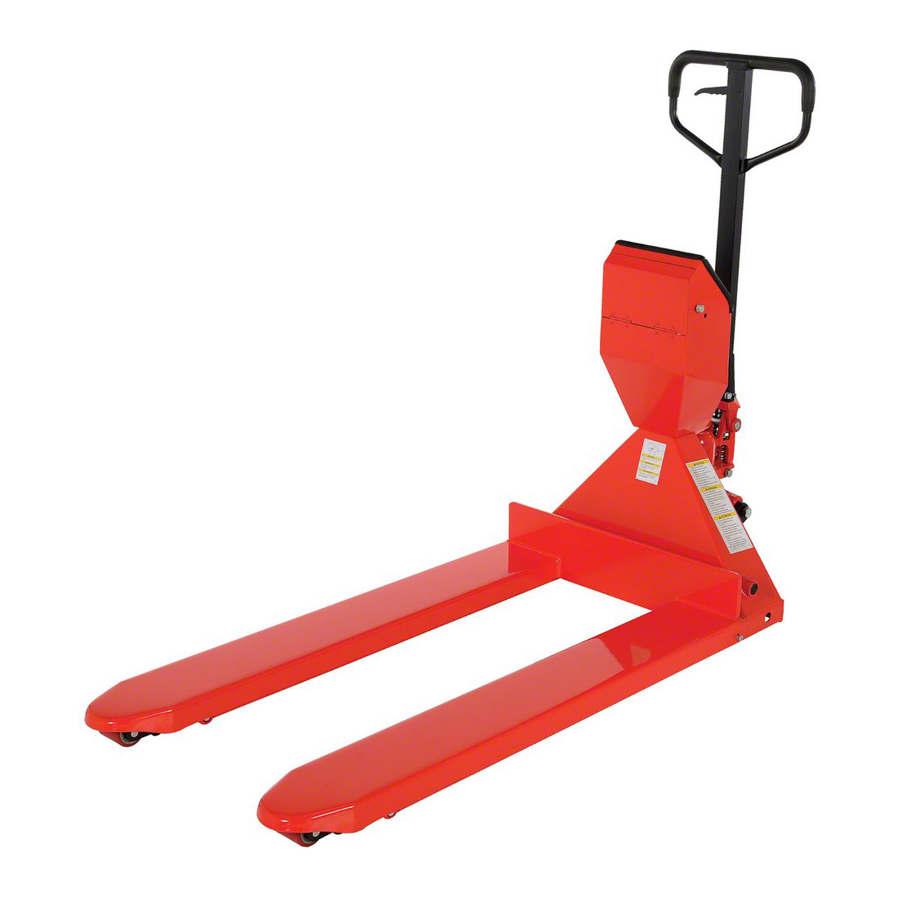 Our 2-in-1 combination pallet jack and scale takes the guess work out of load weight