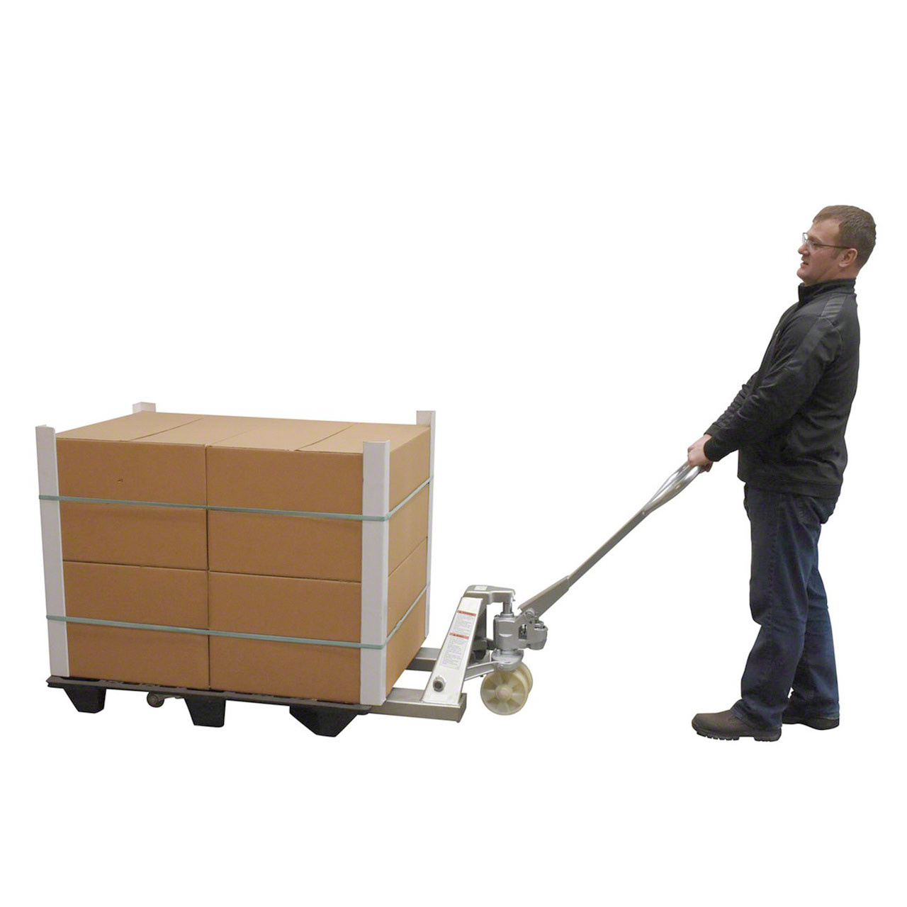 Hauling load with Sanitary Environment Pallet Jack