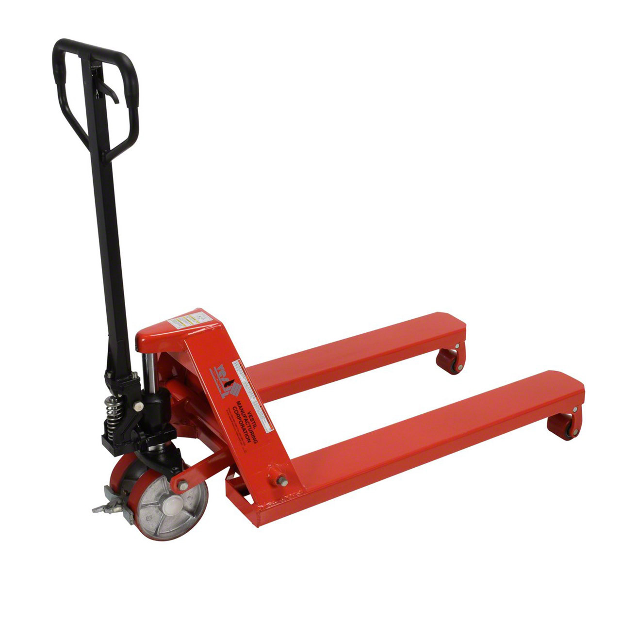 Side view of this wheel nose pallet jack