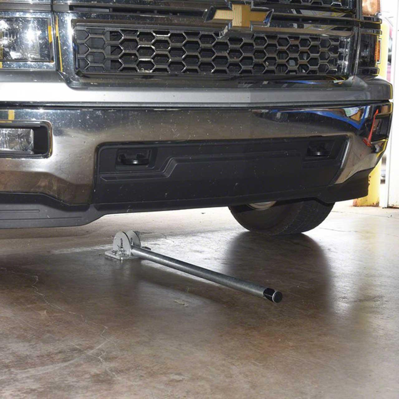 Galvanized steel bollard in fold-down position