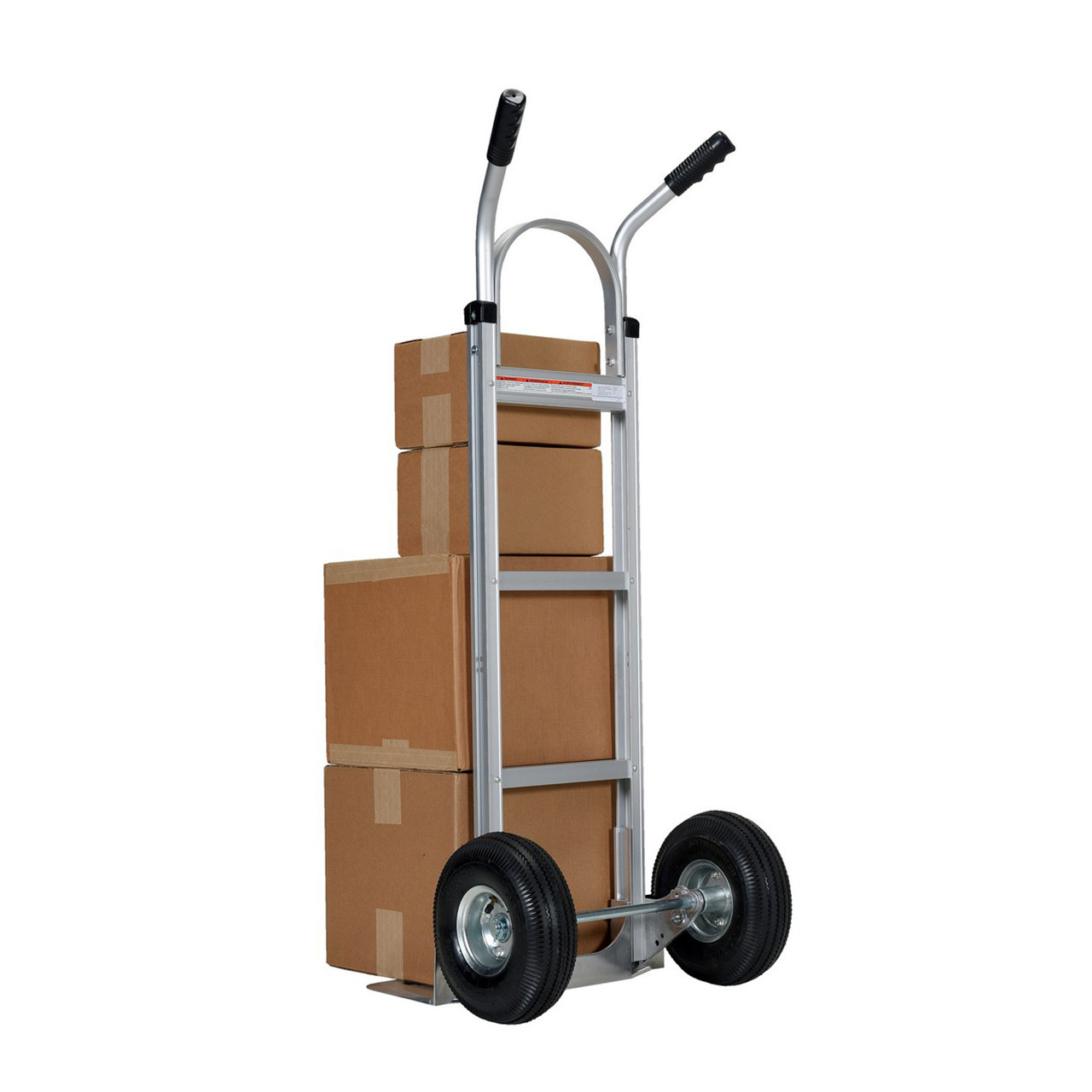 Dual Handle Hand Cart with Aluminum Noseplate With Stacked Boxes