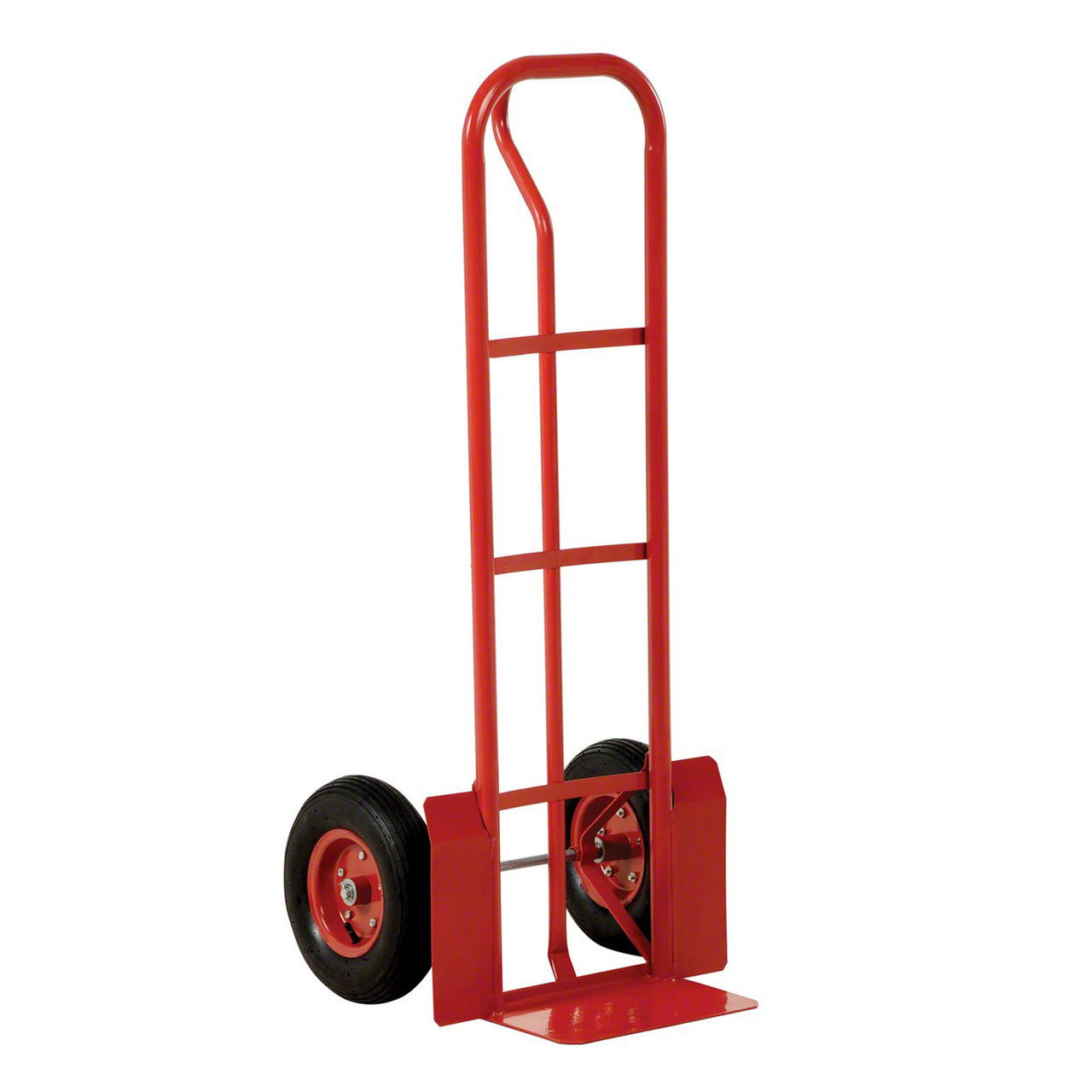 Red Steel P Handle Hand Truck Left Side View