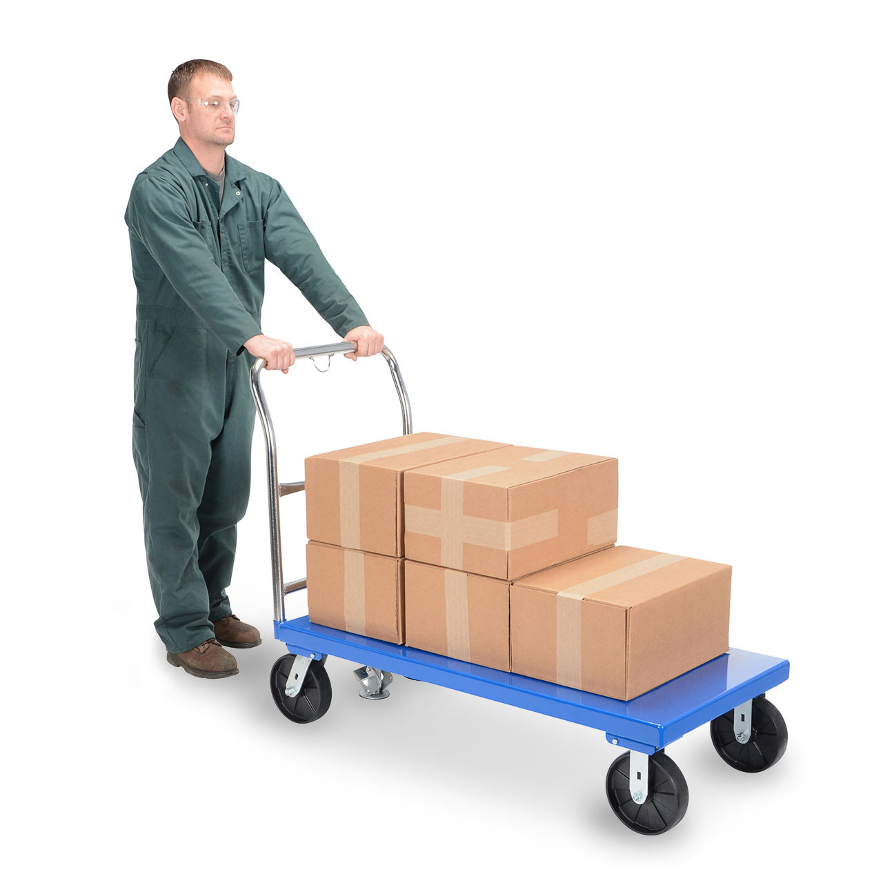 Steel platform carts roll smoothly to transport even delicate items