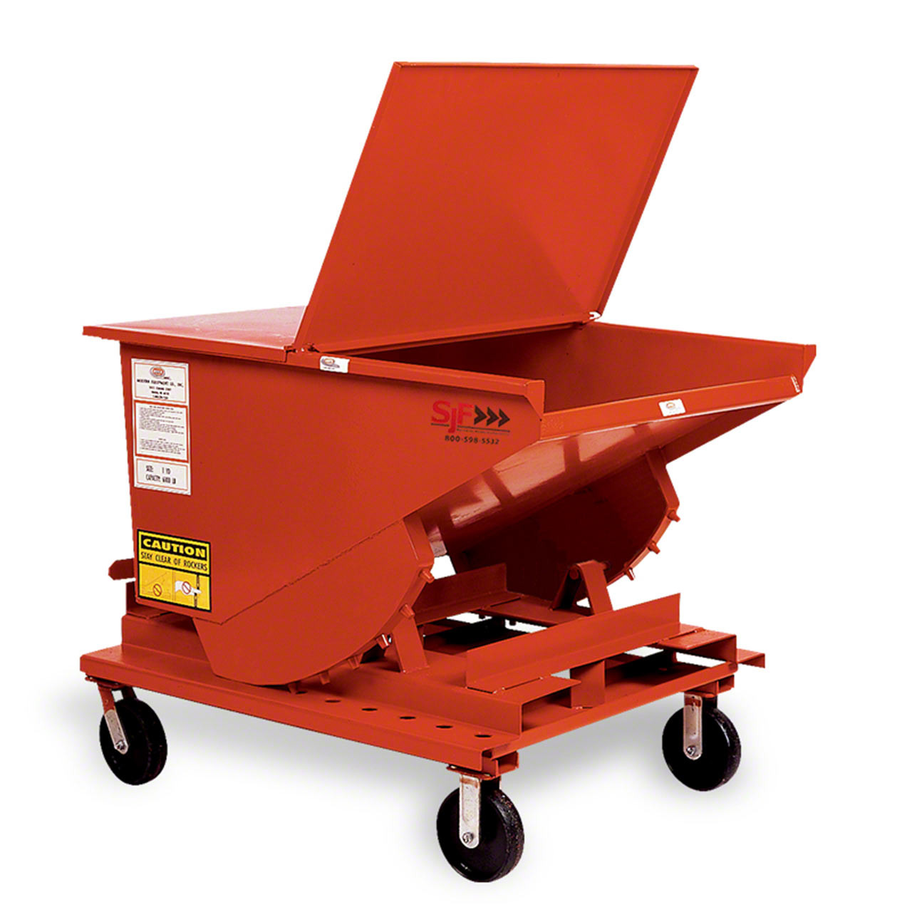 Heavy Duty Self Dumping Hopper with optional lid and casters