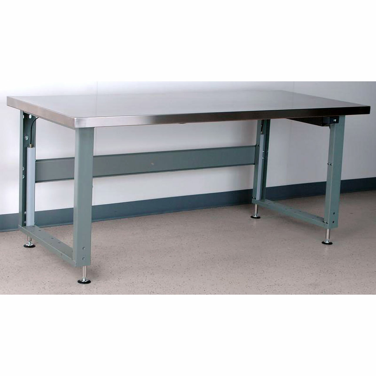 Electric Adjustable Height Workbench Stainless Steel Top