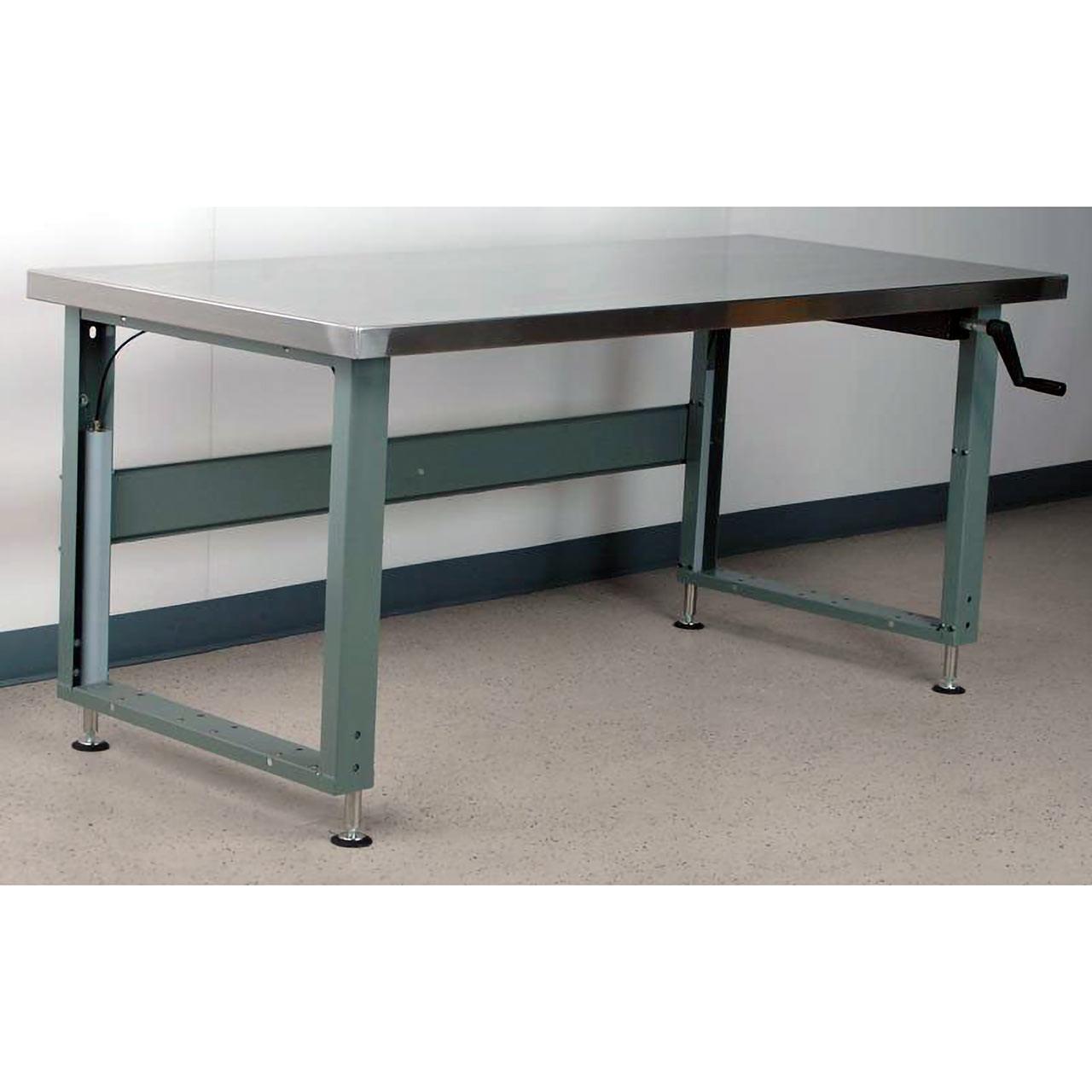Hand-Crank Adjustable Height Workbenche Stainless Steel Top