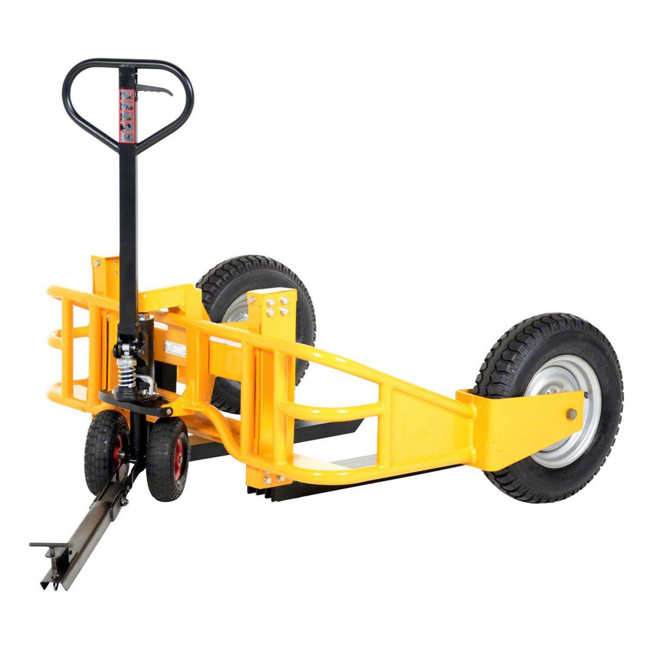 The optional manual all terrain pallet jack tow package accessory attaches and detaches easily