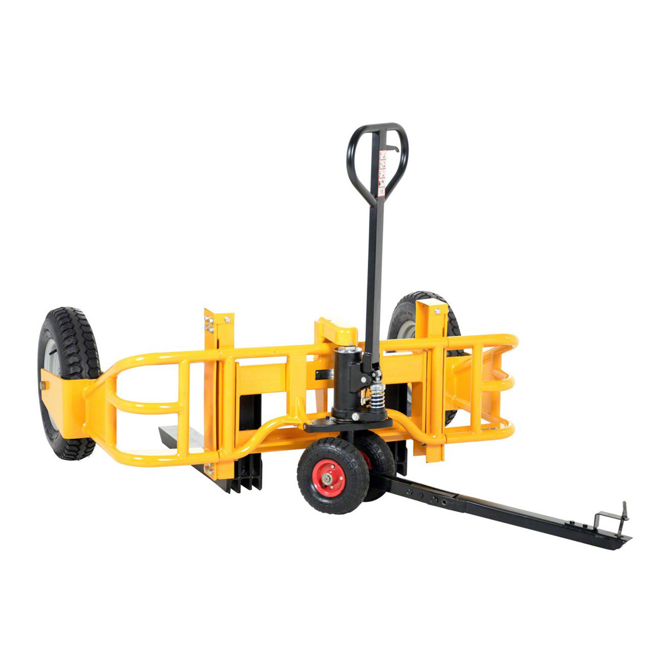 The manual all terrain pallet jack tow package accessory installed