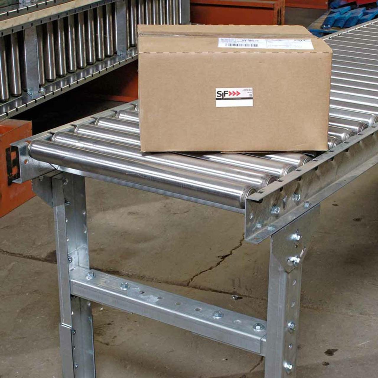 Gravity roller conveyor for product transportation
