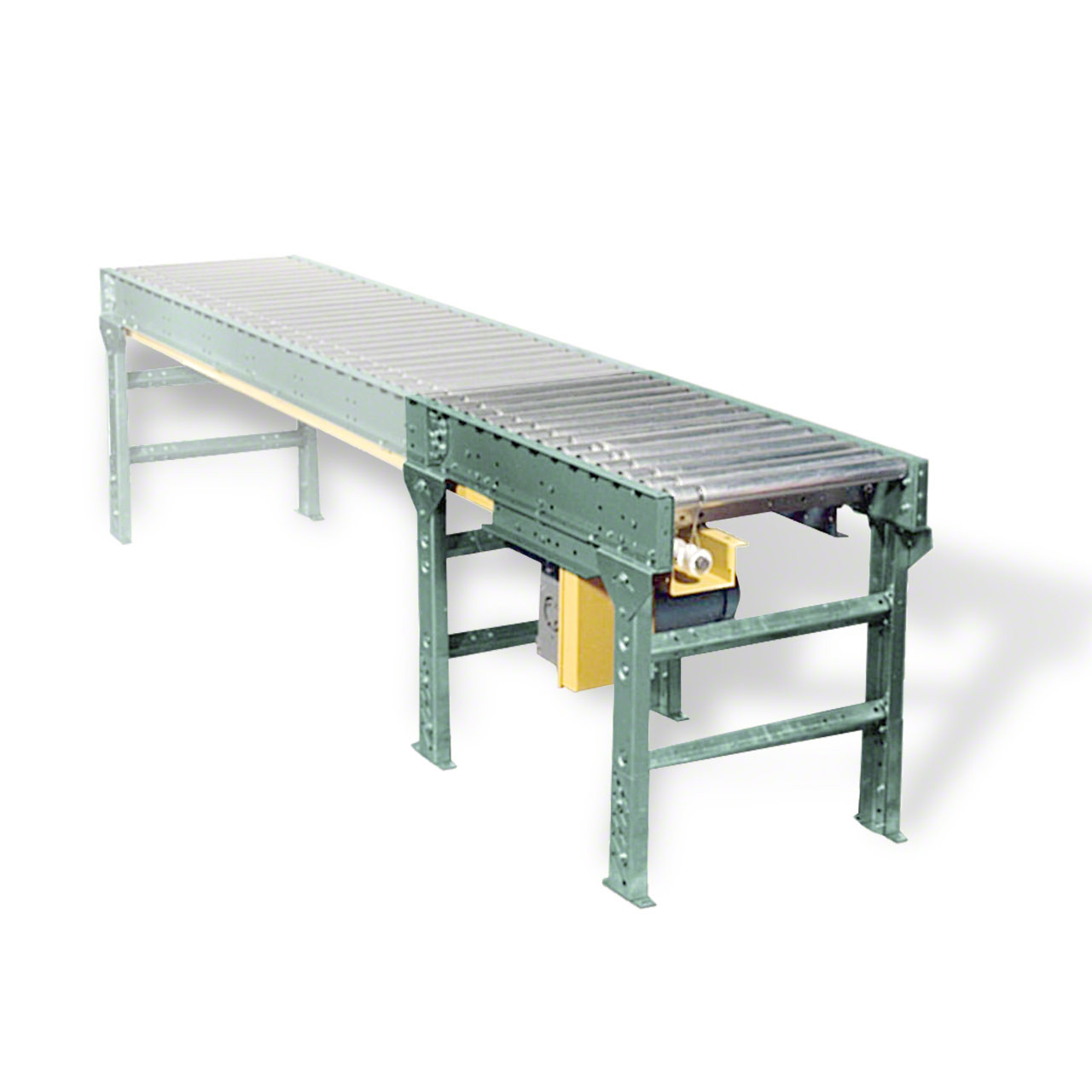 Lineshaft conveyor drives add onto straight or curved sections