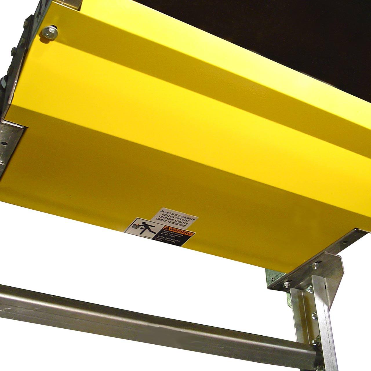 Power belt conveyor snubber guard