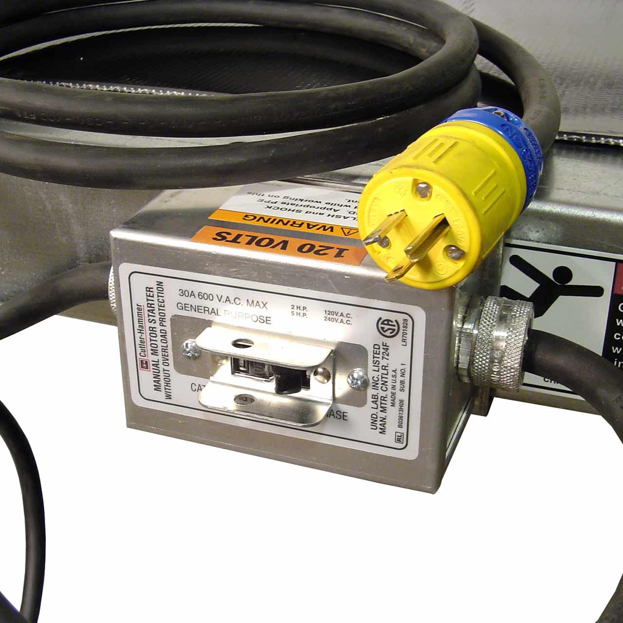 Power slider bed conveyor power switch