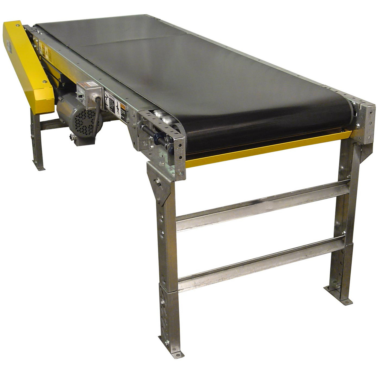 Powered belt conveyor design also makes it useful for transporting loads on inclines and declines.