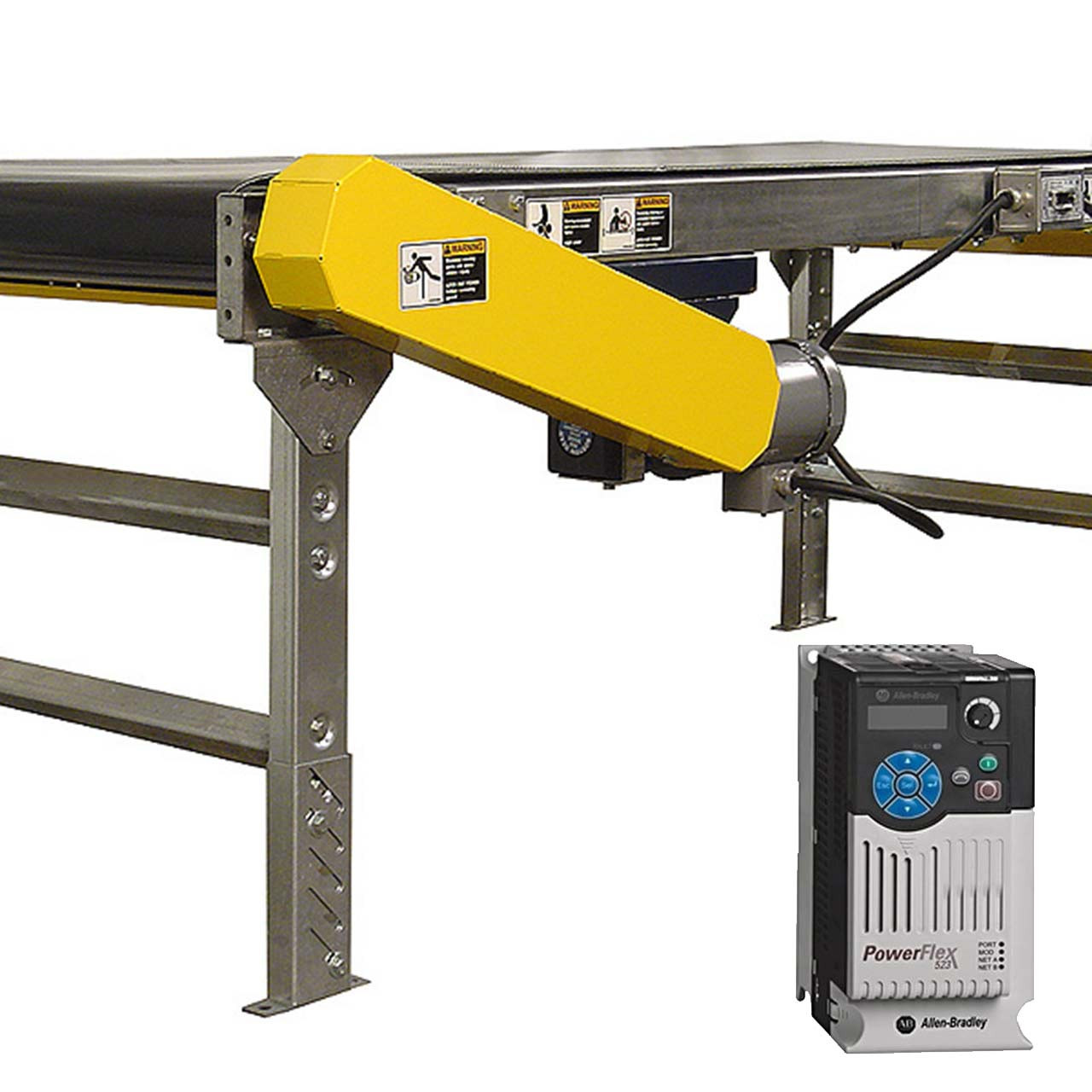 Power belt conveyor with variable speed controller