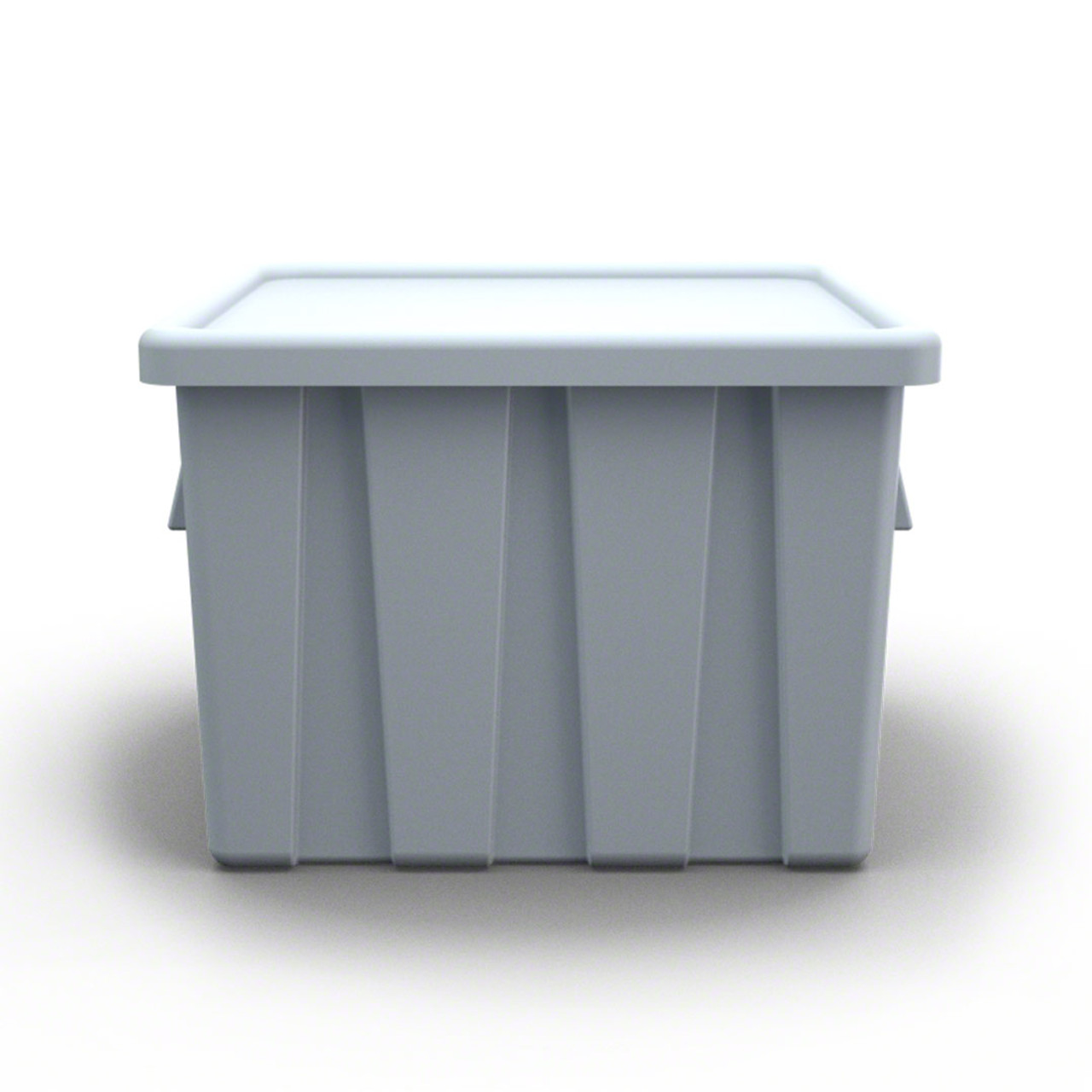 Side view Stackbin forklift bulk container color gray smaller size