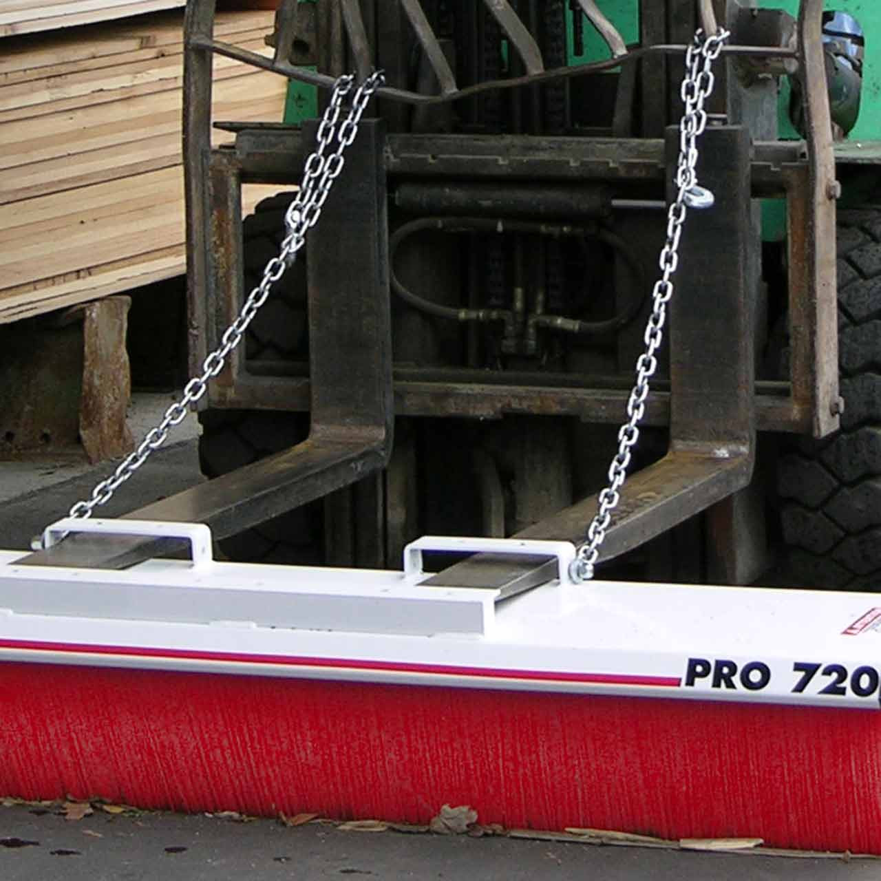 Forklift Mounted Broom - Pro Series With Chains Attached