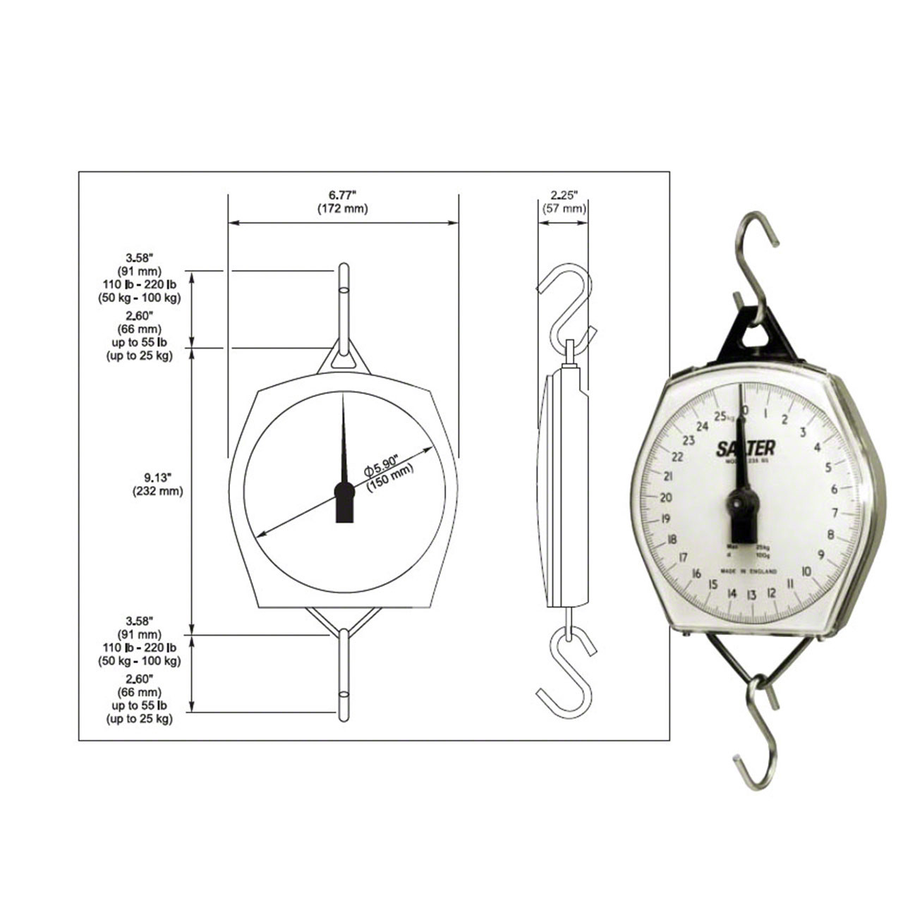 Dimensions of Mechanical Hanging Scale