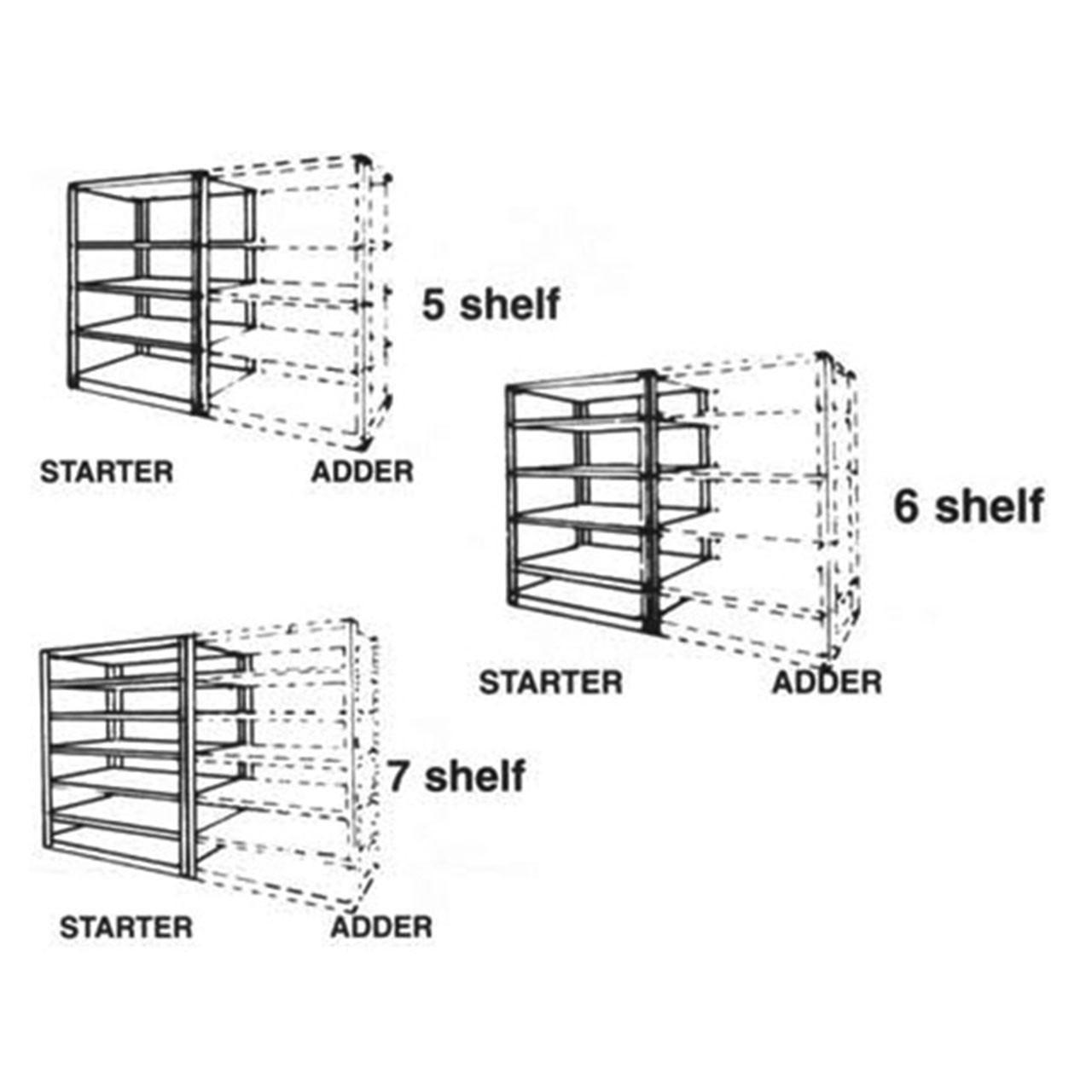 Boltless Longspan Shelving Adder Kit Diagram
