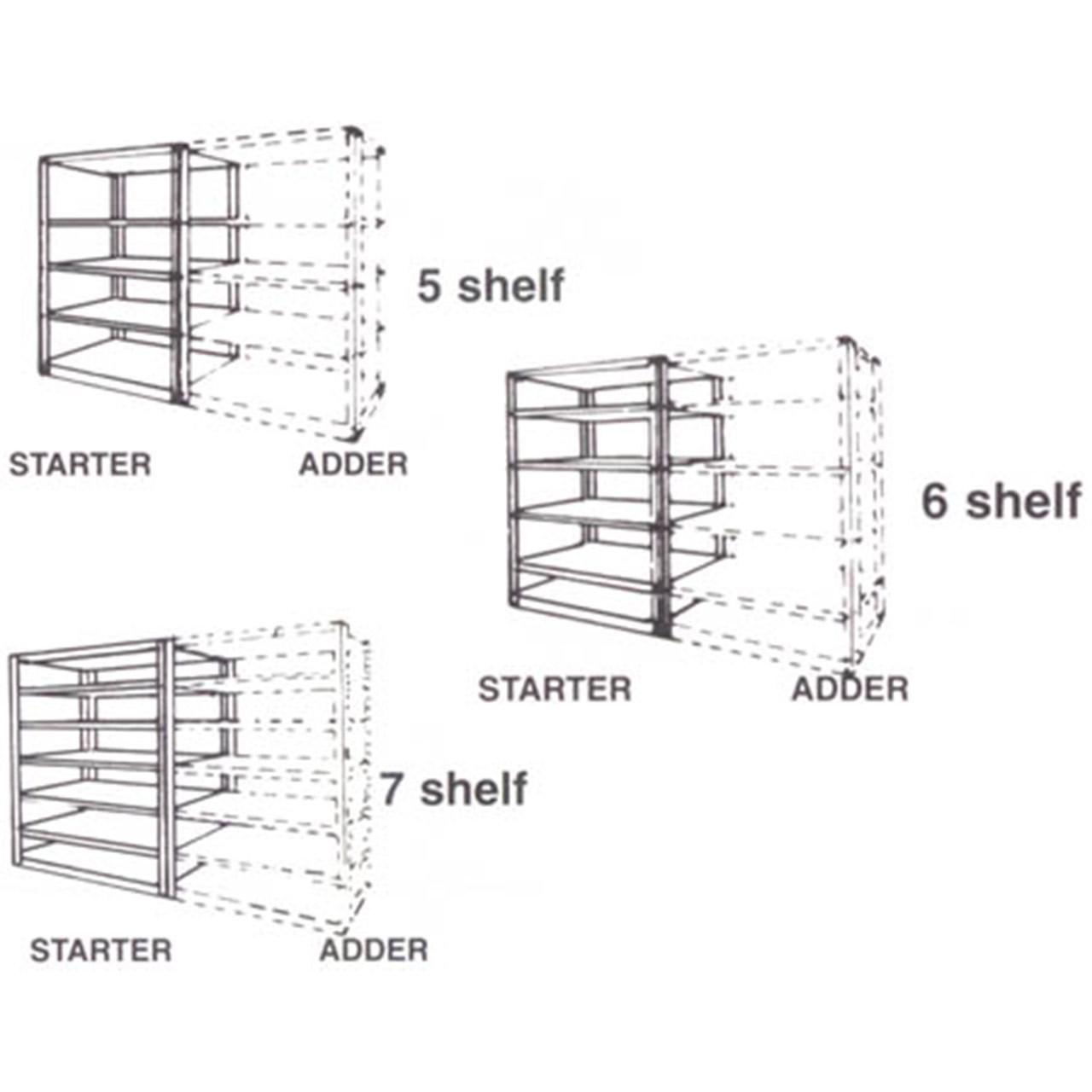 Low Profile Boltless Shelving Adder Diagram